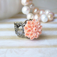ROMANCE- Peach Dalhia Vintage Ring, Antique Brass