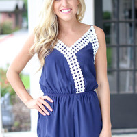 Now or Never Romper - Navy