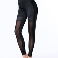 Casual See-Through Hot Plain High-Rise Legging