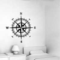 Fashion Compass Pattern Art Wall Decal Nautical Removable Home Decor Living Room Bedroom Wall Stickers