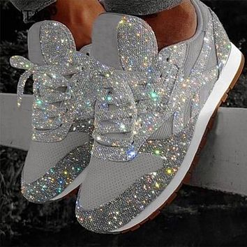 Casual Mesh Lace Reebok Up Glitter Shoes