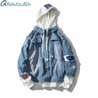 Grandwish Oversize Denim Jeans Jacket Men 2018 Spring Mens Hooded Jackets Jeans Plus Size 3XL Hip Pop Jeans Jacket Male ,DA572