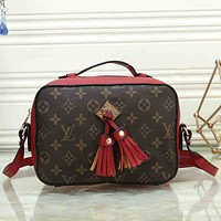 Louis Vuitton LV Fashion new print tassel women splice leather shoulder bag Red