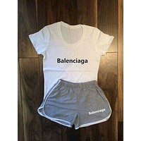 BALENCIAGA Women Fashion Print Short sleeve Top Shorts Pants Sweatpants Set Two-Piece Sportswear
