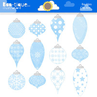 Christmas Baubles Clipart for Instant Download. Christmas Tree Decorations Clip Art. Xmas clip art. Christmas Clipart. Blue Snowflakes