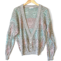 Vintage 80s Pastel Diamonds Cosby / Golf Cardigan Ugly Sweater - The Ugly Sweater Shop