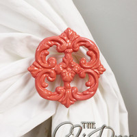 Curtain Tiebacks Coral Set of two Cast Iron by TheChicDecorShop