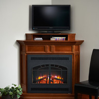 Alder Wood Built-in Fireplace Surround Cabinet TV Stand