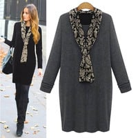 Long-Sleeve Dress With Black Paisley Scarf