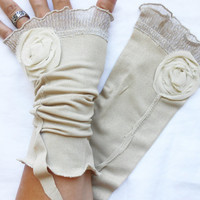 Ivory Bridal gloves, Wedding gloves, Cream-colored gloves, Fingerless Ivory gloves , Women fashion, Bridesmaid gloves