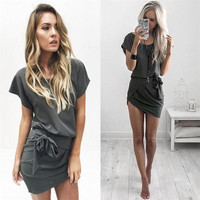 2016 Hollow Bandage Package Hip Handkerchief Casual Party Playsuit Clubwear Bodycon Boho Dress _ 8795
