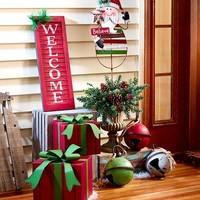 Red Green & White Christmas Porch Decor Distressed Finish Rustic Country