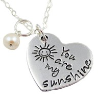 You Are My Sunshine Pewter Heart Necklace - Jewelry - Quick Ship Items at Sweet Blossom Gifts