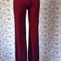 Vintage 1990s Classic Stretchy Pants Red Sparkly Trousers Comfy Home Wear Vintage Lounge Wear Womens Tight Trousers Kitsh