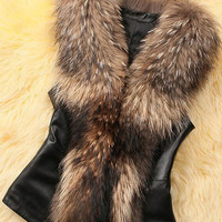 Faux Leather Fur Sleeveless Vest