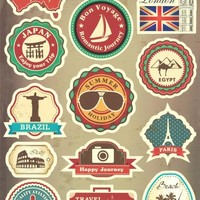 Famous Scenic Spot Vintage Car Sticker on Luggage Suitcase Trolley Travel Bag Guitar Stickers Skateboard Scooter Laptop Stickers