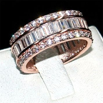 CHOUCONG JEWELRY 925 SILVER &ROSE GOLD PAVE SETTING FULL 5A ZIRCON ETERNITY BAND ENGAGEMENT WEDDING STONE RING Size 5,6,7,8,9,10
