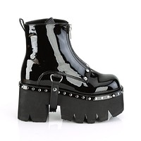 """Ashes 100 Platform Ankle Boots 3.5"""" Chunky High Heel 6-12 - Black Patent  - Demonia Direct"""
