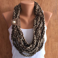 earth colors hand crochet chain Infinity scarf - necklace scarf gift or for you