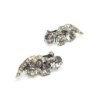 Eisengberg Art Deco Early signed vintage clip on rhinestone earrings 2021