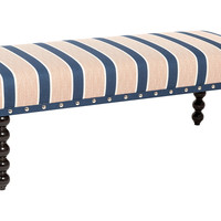 "Carly Striped 48"" Bench, Navy/Orange, Entryway Bench"