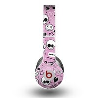 The Pink & Black Love Skulls Pattern V3 Skin for the Beats by Dre Original Solo-Solo HD Headphones