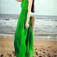 Real silk Green Color Beach skirt in summer Bohemia dress mulberry silk dress maxi Dress Party Wedding Prom Dress  S,M,L