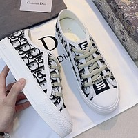 Dior new double-sided three-dimensional embroidery female low-top sports shoes