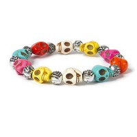 Happy Colorful Beaded Skull Stretch Bracelet with Roses – Claire's