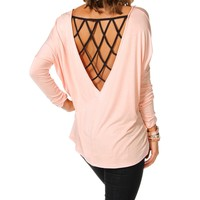 Sale-light Rose/black Caged Back Dolman Top