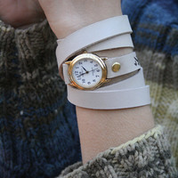 beige milky leather bracelet wrap around wrist with engraved lock of birds flying birds with gold watch face - Free Shipping