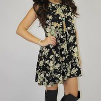 Floral Finder Dress (black-taupe-green)