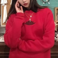 """""""Air Jordan"""" Unisex Casual Simple Embroidery Logo Couple Long Sleeve Cotton Sweater Round Neck Tops"""