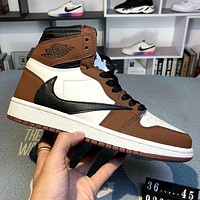Nike Air Jordan 1 Hi OG x Travis Scott joint AJ1 barb retro frosted leather high-top basketball shoes