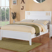 White Country Style Full Size Panel Wooden Bed