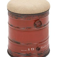 Benzara Industrial Style Steel And Fabric Stool In Unique Oil Drum Shape