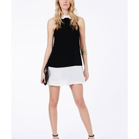 Missguided - Riley Collared Shift Dress In Monochrome