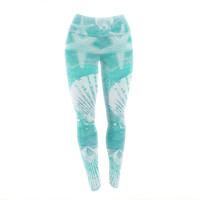 "Sylvia Cook ""Seaside"" Blue Teal Yoga Leggings"