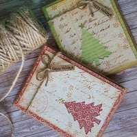 Set of 2, Rustic Christmas Card , With Love Card, Christmas Tree Card,  Seasonal Card, Love you Christmas Card, Rustic Card