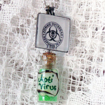 WALKING DEAD NECKLACE Anti Virus Vile Zombie Apocalypse Pendant Minature Glass Bottle with Green and Glitter Sand