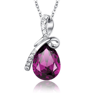 Eternal Love Teardrop Swarovski Elements Crystal Pendant Necklace - Purple