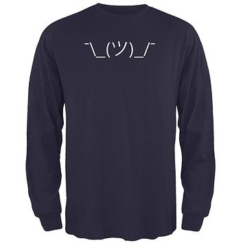 Funny Emojicon Shrug Navy Adult Long Sleeve T-Shirt