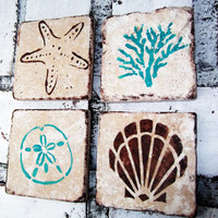 Beach House Decor Coaster Set Stone Coasters -Seashells,Sand dollar,Starfish,Coral-Beach Wedding Favors-Rustic