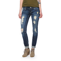 Almost Famous Dark Wash Destroyed Skinny Jeans