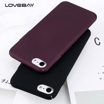 Lovebay Phone Case For iPhone 6 6s 7 8 Plus Simple Plain Wine Red Frosted Matte PC Back Cover Protect Cases For iPhone 7 Plus