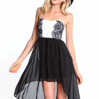 SYMMETRICAL LACE HI LOW DRESS