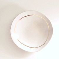 RESERVED for Bracha - large, 9 inch porcelain ring dish with gold rim