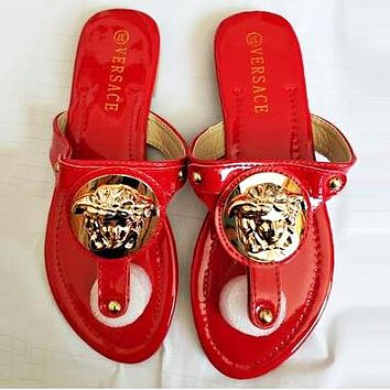 Versace Summer Popular Women Casual Flat Sandal Slippers Shoes Red