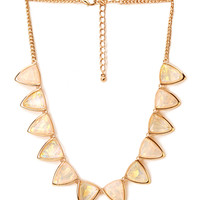 FOREVER 21 Holographic Geo Necklace Cream/Gold One