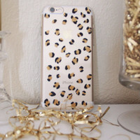 Hand Painted Clear Leopard Print iPhone 6 and 6 Plus case